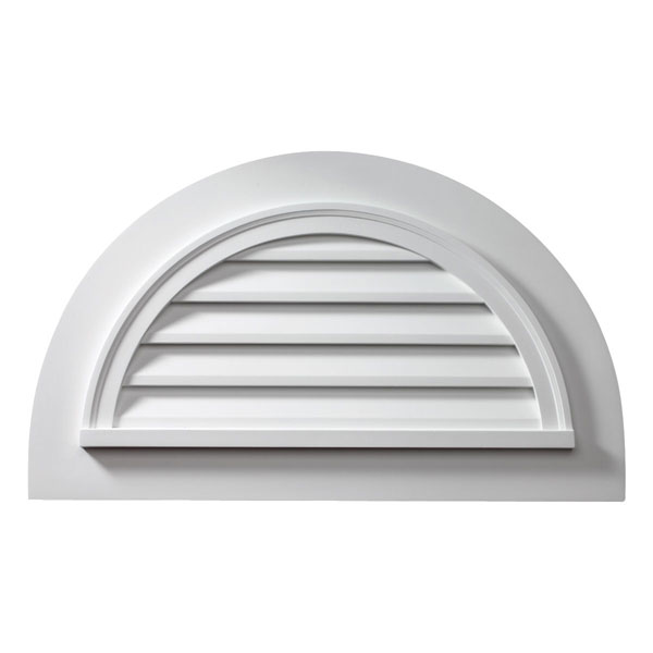 "43""W x 25""H x 2""P Half-Round Louver w/ Trim Attached, Non-Functional"