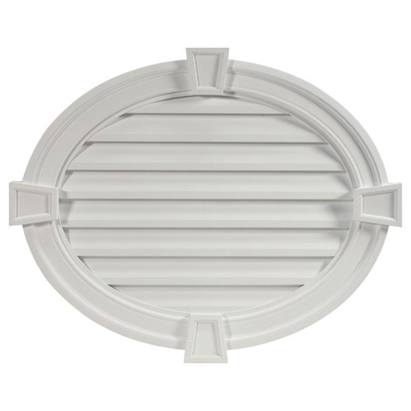 "37 1/2""W x 30""H Horizontal Oval Louver, with Decorative Trim and Keystones, Decorative"