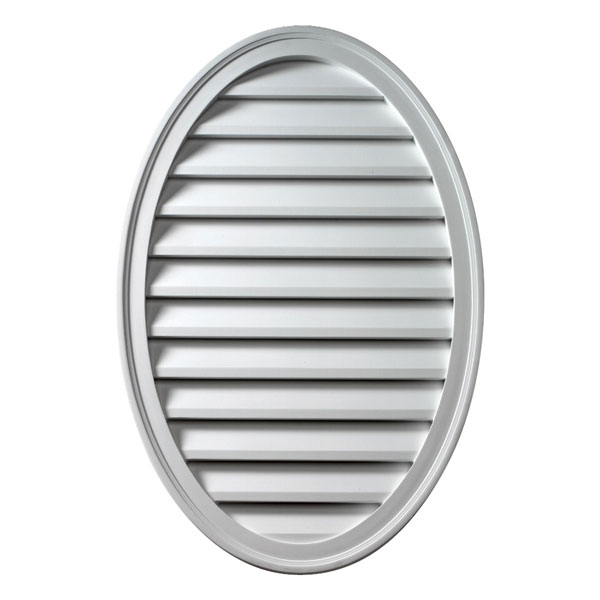 "18""W x 24""H x 1 5/8""P Brick Mould Style Vertical Oval Louver, Non-Functional"