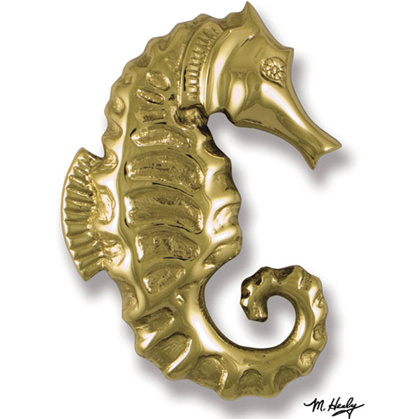 "4 1/2""W x 1 1/2""D x 6""H Michael Healy Seahorse Door Knocker, Brass"