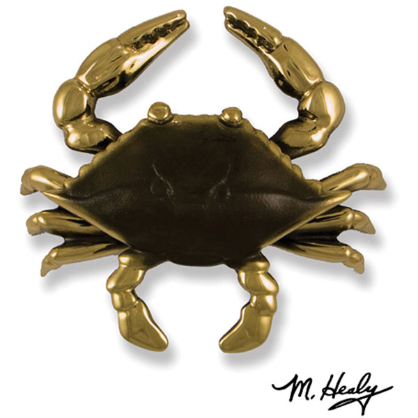 "7""W x 2 1/4""D x 6""H Michael Healy Crab Door Knocker, Brass"