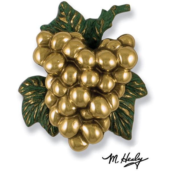 "5""W x 2""D x 6 1/2""H Michael Healy Grape Cluster Door Knocker, Brass"