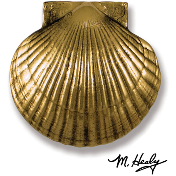 "6""W x 2""D x 6""H Michael Healy Scallop (Large) Door Knocker, Brass"