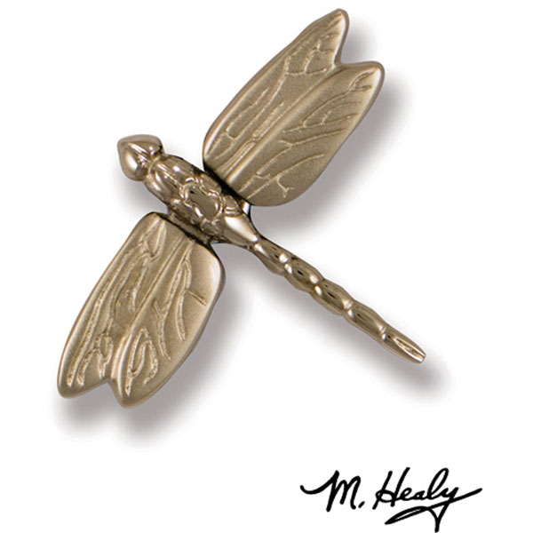 "3 1/4""W x 3 1/4""H Michael Healy Dragonfly Doorbell Ringer, Nickel Silver and Chrome"
