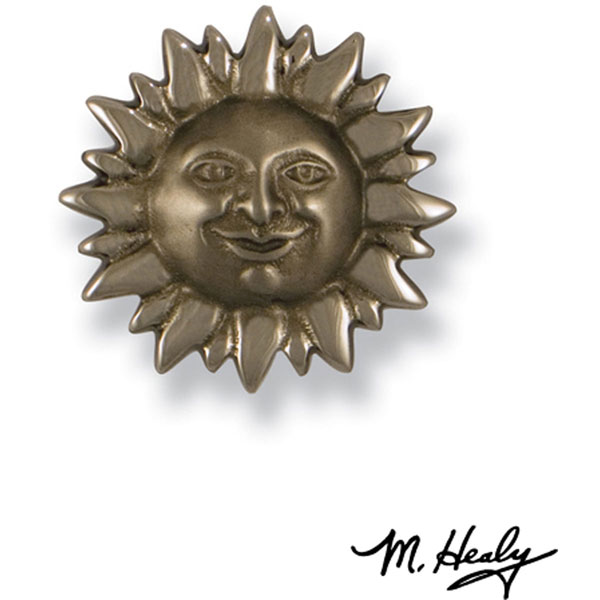 """3 1/4""""W x 3 1/4""""H Michael Healy Sunface Doorbell Ringer, Nickel Silver and Chrome"""