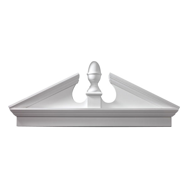 "80""W x 84 1/2""OW x 25 3/8""H x 3 1/8""P, Pitch 5 1/2 / 12 Combination Acorn Pediment"