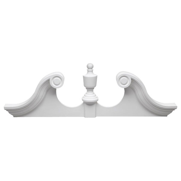 "60 7/8""W x 16""H x 19 1/16""OH x 4 1/2""P Rams Head Pediment, Urethane"
