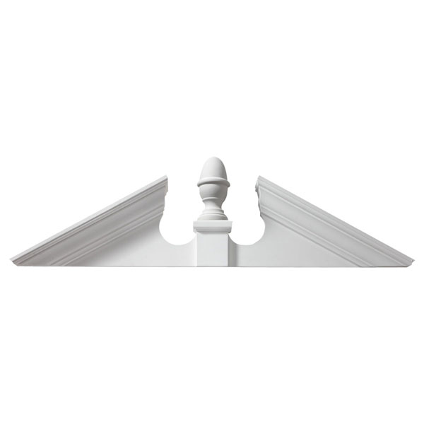 "62""W x 16 3/4""H x 4 1/2""P, Pitch 6 1/2 / 12 Acorn Pediment"