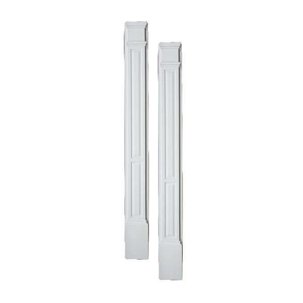 "9""W x 100""H x 3""P Double Panel Pilaster, with Plinth Block, (set of 2)"