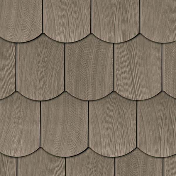 "6""W x 60""L Exposure, Vinyl Fish Scale Sawn Cedar Shingle, (20 Panels/Ctn. = 50 Sq. Feet)"