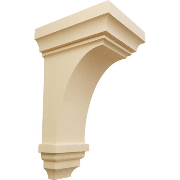 4-Pack , Alder Ekena Millwork CORW05X07X14TRAL-CASE-4 5 inch W x 6 3//4 inch D x 14 inch H Large Traditional Wood Corbel