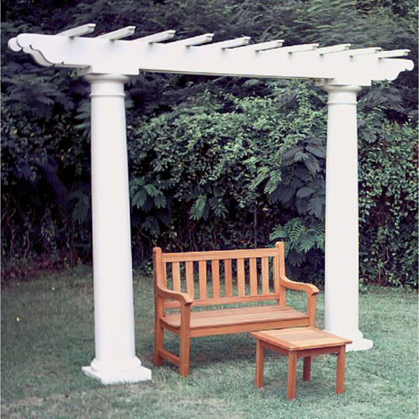 "144""W x 36""D x 117 1/8""H Swing Arbor w/ 8"" x 8' Round Non-Tapered Columns"