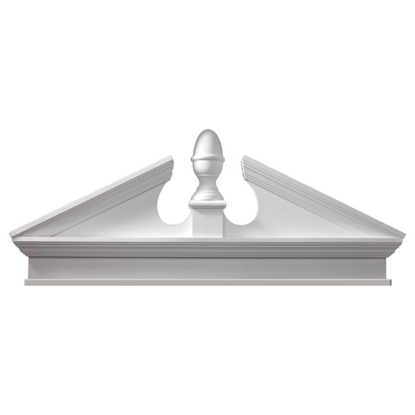 "58""W x 62 1/2""OW x 19 3/8""H x 3 1/8""P, Pitch 6 / 12 Combination Acorn Pediment w/ Bottom Trim"