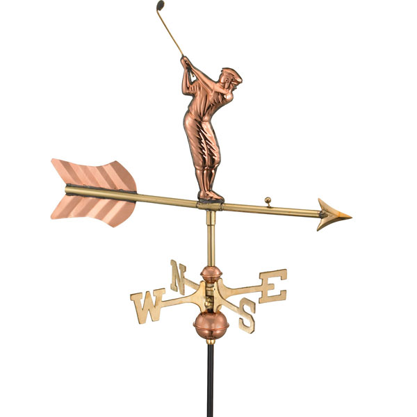 "21""L x 11""W x 28""H Golfer Weathervane, Polished Copper"