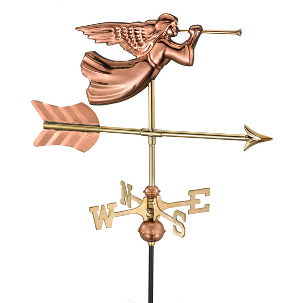 "21""L x 11""W x 28""H Angel Weathervane, Polished Copper"