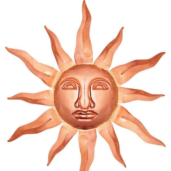 "36"" Large Sun Face, Polished Copper"