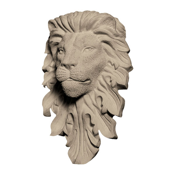 """Approx. 3-3/4"""" x 5-3/4"""" x 1-3/4"""" Lion's face."""