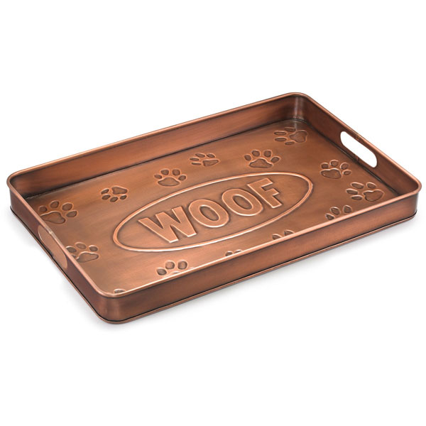 "14""W x 22""L x 2""H Woof Multi-Purpose Shoe Tray, Copper Finish"