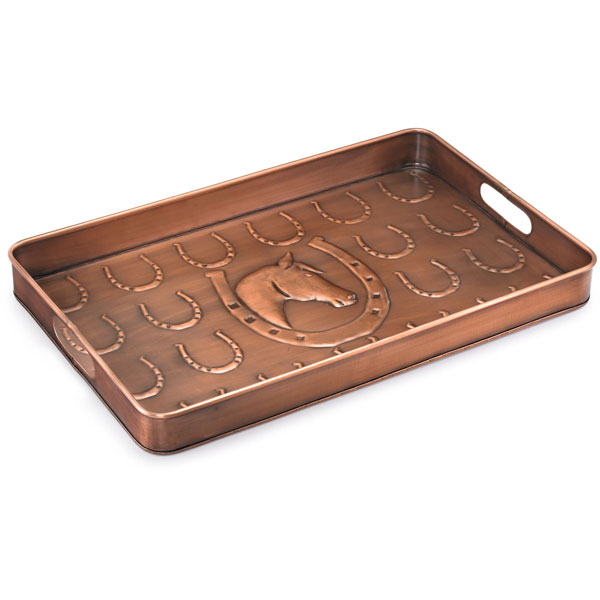 "14""W x 22""L x 2""H Horse Shoe Multi-Purpose Shoe Tray, Copper Finish"