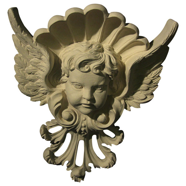 """Approx. 5 1/2""""W x 7 1/4""""H x 1 1/4""""D Cherub with wings"""