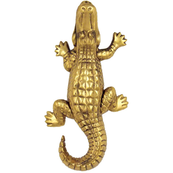 "3 1/2""W x 1 1/2""D x 7""H Michael Healy Alligator Door Knocker, Brass"