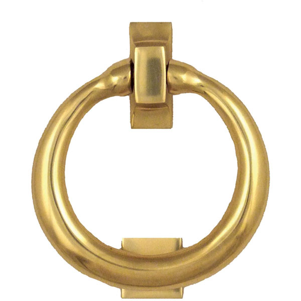 "4""W x 1 1/2""D x 4""H Michael Healy Ring Door Knocker, Brass"