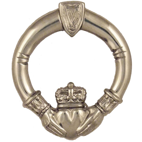 "4 1/2""W x 1 1/2""D x 5""H Michael Healy Claddagh Door Knocker, Nickel Silver"