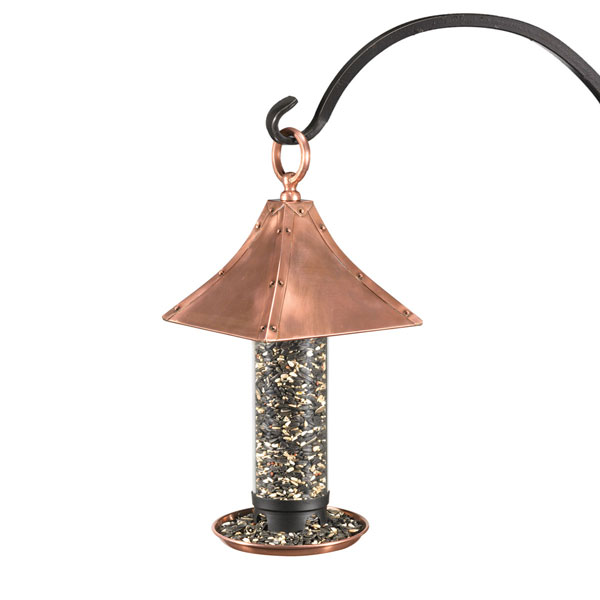 "7 1/4""L x 15 1/2""H x 7 1/4""W Palazzo Bird Feeder, Polished Copper"
