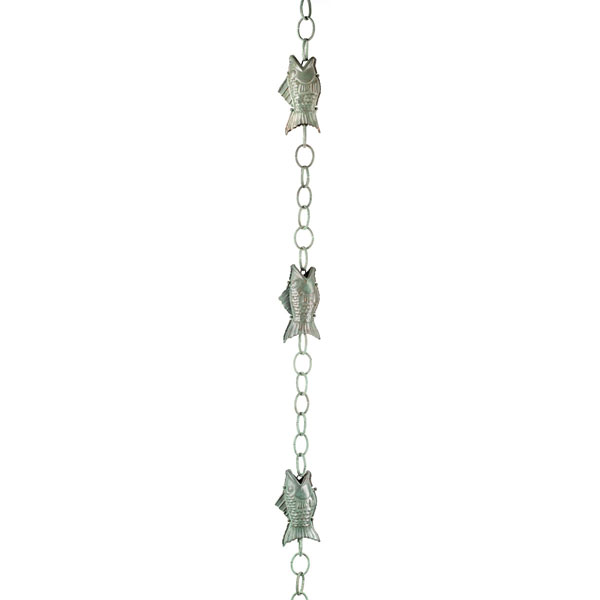 "4""W x 4""L Fish Rain Chain, Blue Verde Copper"