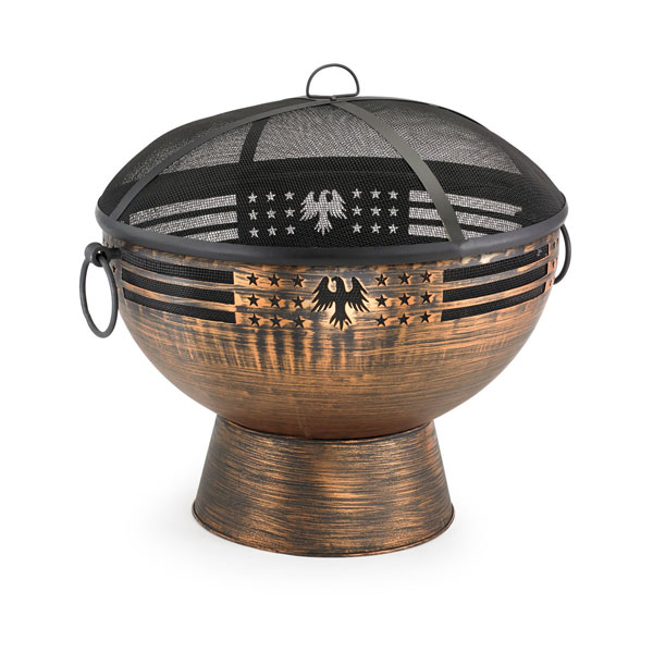 "26""W x 26""H Oversized Eagle Fire Bowl w/ Spark Screen"