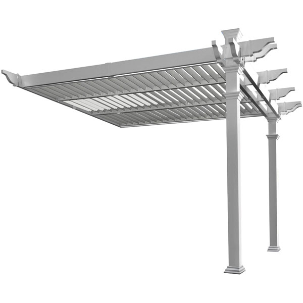 "144""W x 141""D x 104""H Elysium 12 x 12 Attached Louvered Pergola"