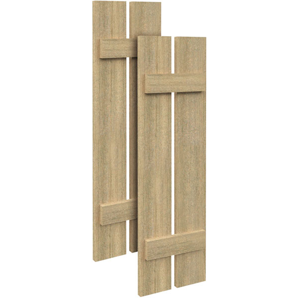2 Planks w/ 2 Battens Rough Sawn Cedar Faux Wood Shutters (Per Pair)