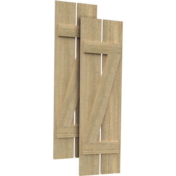 2 Planks w/ Z-Batten Rough Sawn Cedar Faux Wood Shutters (Per Pair)