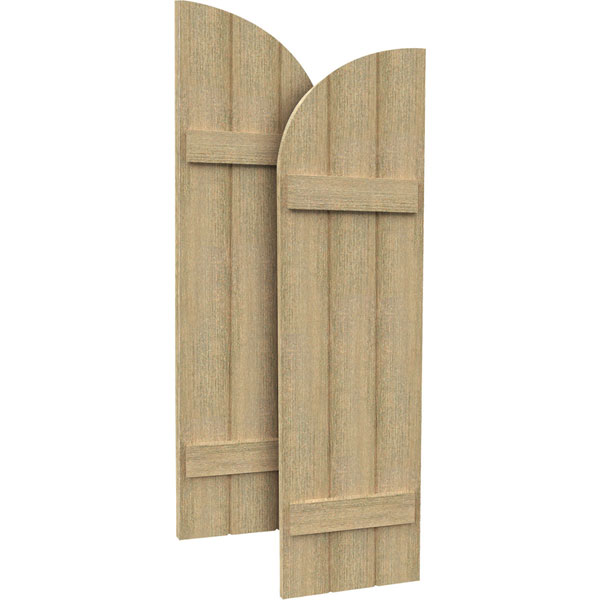 3 Boards w/ Quarter Round Arch Top and 2 Battens Rough Sawn Cedar Faux Wood Shutters (Per Pair)