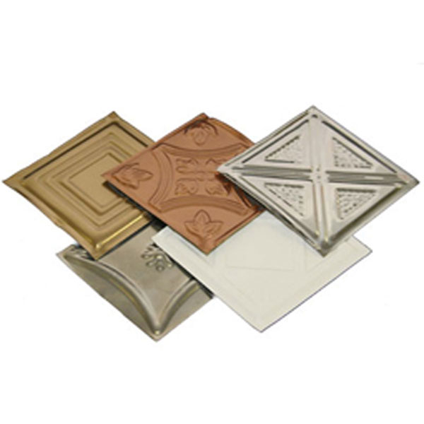 Tin Ceiling Tile Samples, Brass, Chrome, Copper, Pre-Painted White, Unfinshed Steel