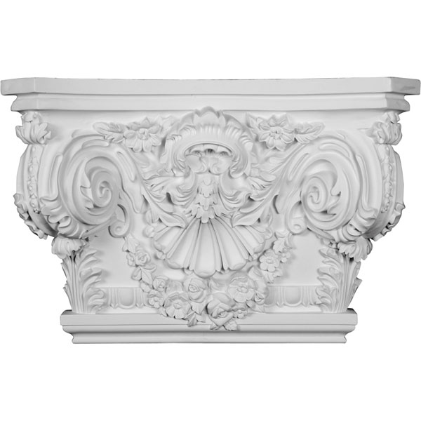 "26 7/8""W x 17 1/2""H x 2 5/8""P Rose Capital (Fits Pilasters up to 19 1/4""W x 2 5/8""D)"
