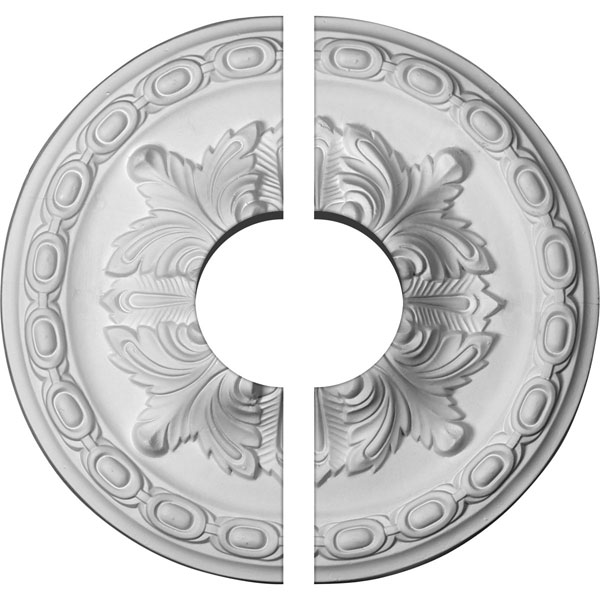 "11 3/8""OD x 3 1/2""ID x 2""P Acanthus Ceiling Medallion, Two Piece (Fits Canopies up to 3 1/2"")"