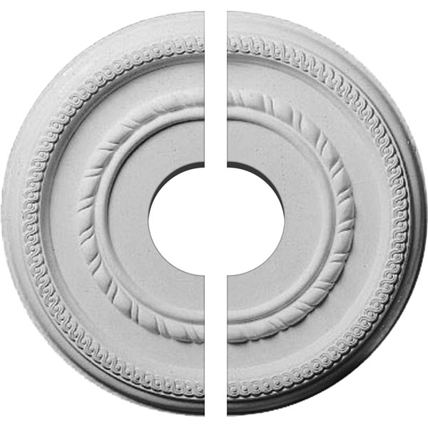 "12 5/8""OD x 3 1/2""ID x 1 1/8""P Federal Roped Small Ceiling Medallion, Two Piece (Fits Canopies up to 6"")"