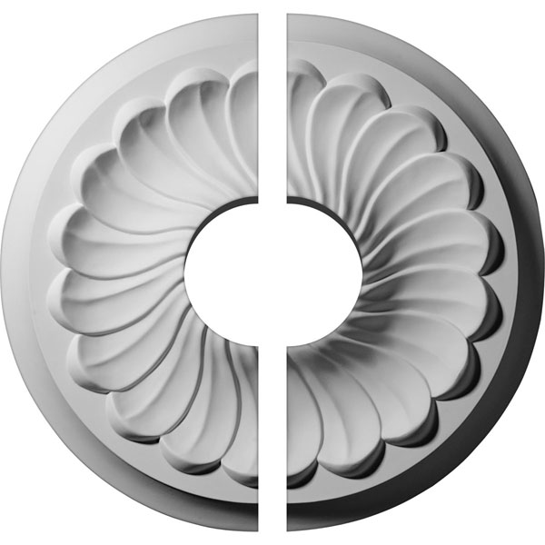 "12 1/4""OD x 3 1/2""ID x 2 1/4""P Flower Spiral Ceiling Medallion, Two Piece (Fits Canopies up to 3 1/2"")"