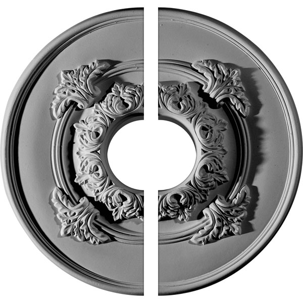 "13 3/4""OD x 3 1/2""ID x 1""P Monique Ceiling Medallion, Two Piece (Fits Canopies up to 3 3/4"")"