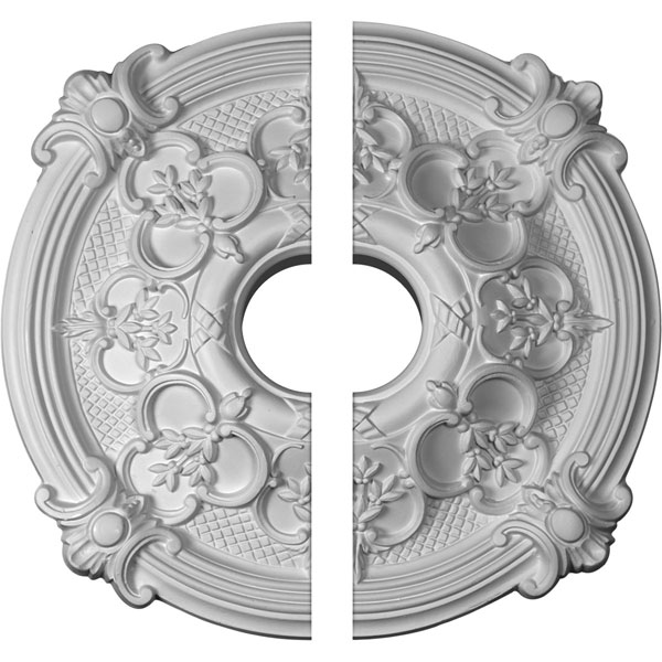 "17 3/8""OD x 3 1/2""ID x 1 3/4""P Hamilton Ceiling Medallion, Two Piece (Fits Canopies up to 3 3/4"")"