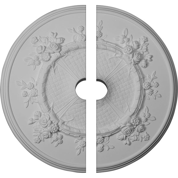 "27""OD x 3 1/2""ID x 1 1/8""P Flower Ceiling Medallion, Two Piece (Fits Canopies up to 3 7/8"")"