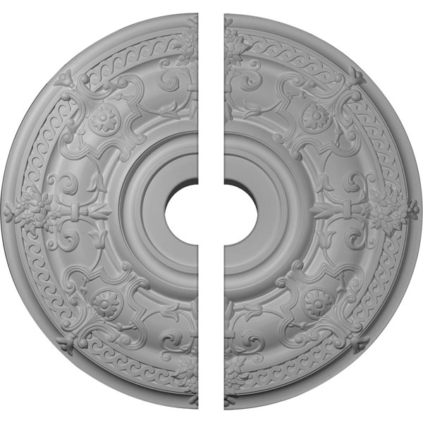 "33 7/8""OD x 6""ID x 1 3/8""P Dauphine Ceiling Medallion, Two Piece (Fits Canopies up to 13 1/4"")"