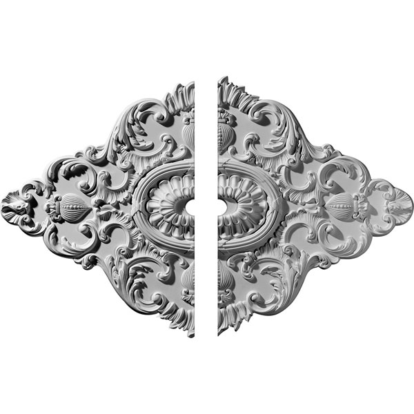 "42 3/4""W x 28 7/8""H x 3""ID x 1""P Ashford Ceiling Medallion, Two Piece (Fits Canopies up to 3"")"