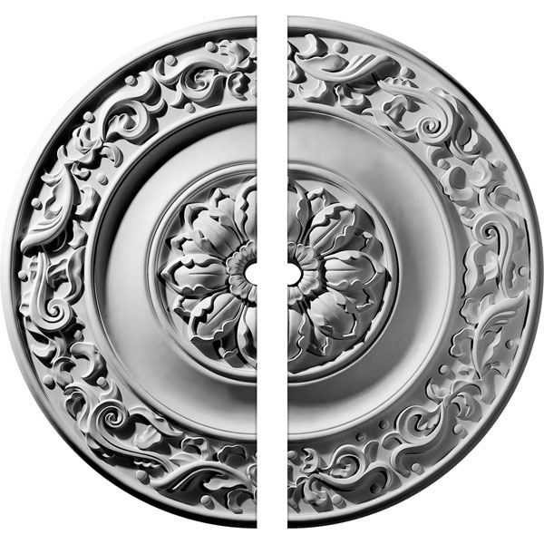 "47 5/8""OD x 2 1/2""ID x 2 3/4""P Milan Ceiling Medallion, Two Piece (Fits Canopies up to 2 1/2"")"