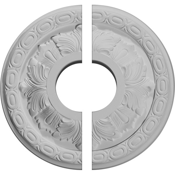"11 3/8""OD x 3 5/8""ID x 1 1/8""P Leaf Ceiling Medallion, Two Piece (Fits Canopies up to 4 3/4"")"
