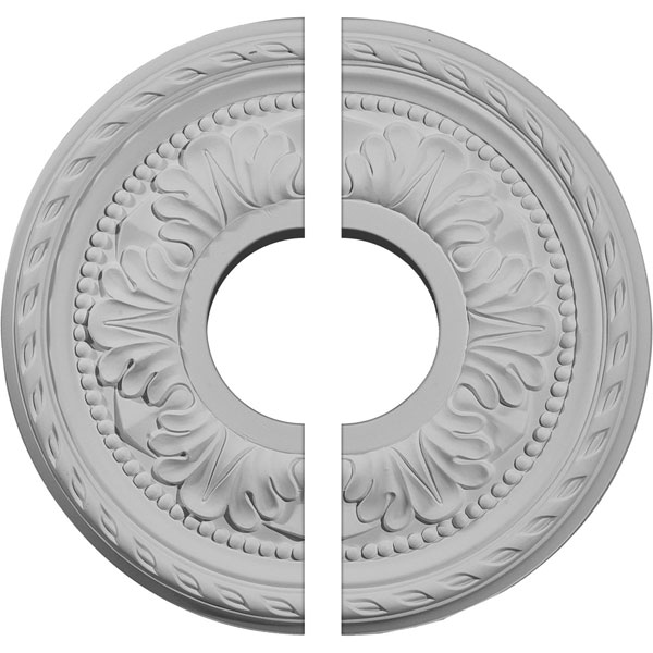 "11 3/8""OD x 3 5/8""ID x 7/8""P Palmetto Ceiling Medallion, Two Piece (Fits Canopies up to 4 1/2"")"