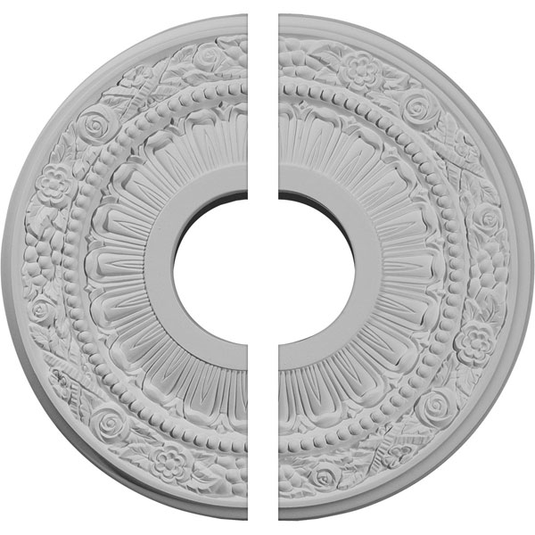 "12 1/8""OD x 3 5/8""ID x 7/8""P Nadia Ceiling Medallion, Two Piece (Fits Canopies up to 4 7/8"")"