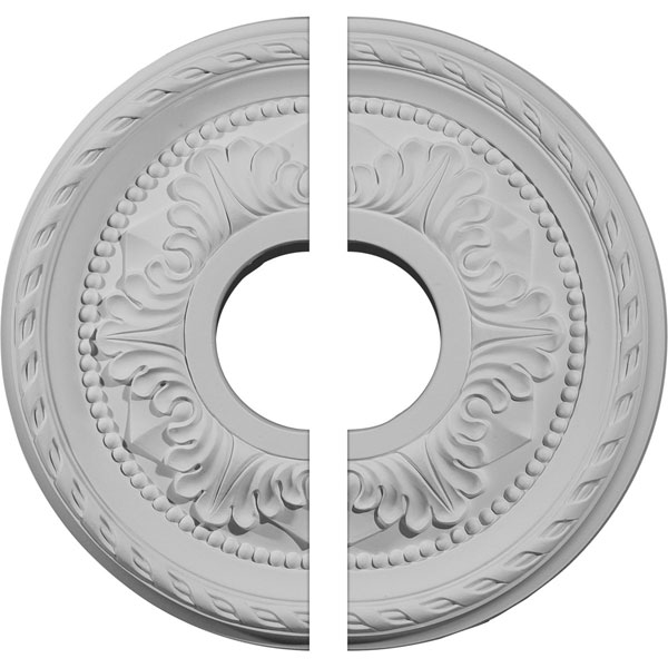 "12 1/8""OD x 3 1/2""ID x 1""P Palmetto Ceiling Medallion, Two Piece (Fits Canopies up to 4 7/8"")"