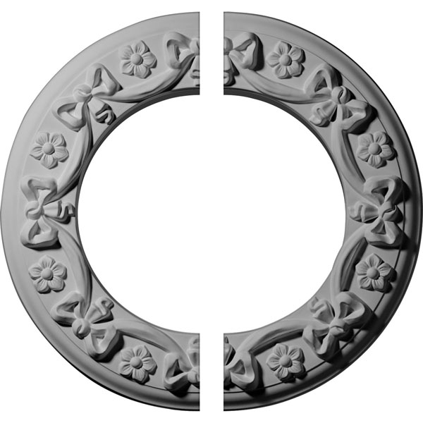 "12 1/4""OD x 7 1/2""ID x 7/8""P Ribbon with Bow Ceiling Medallion, Two Piece (Fits Canopies up to 7 1/2"")"